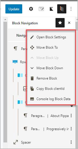 Block Navigation Context Menu