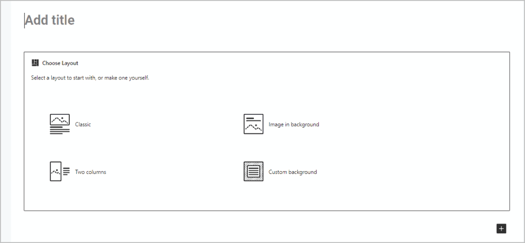 Create Template Predefined Layouts