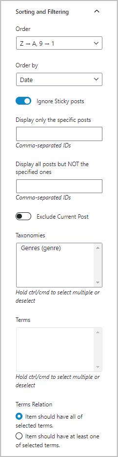 Custom Posts Filtering Options