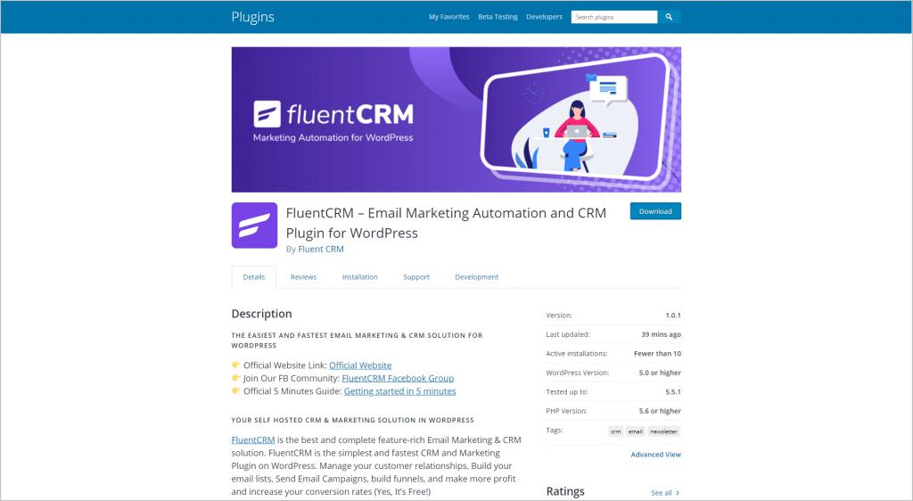 FluentCRM on WordPress.org