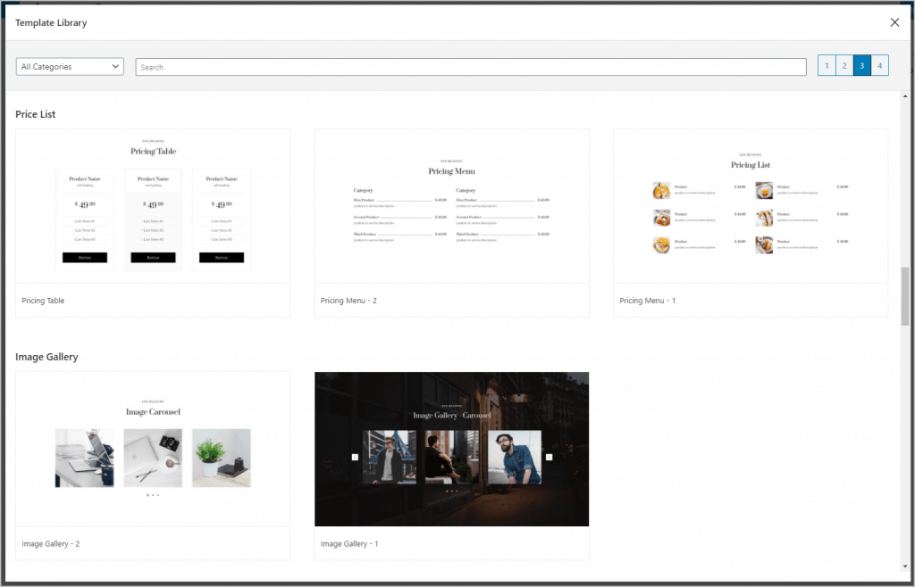 Getwid Template Library Third Tab