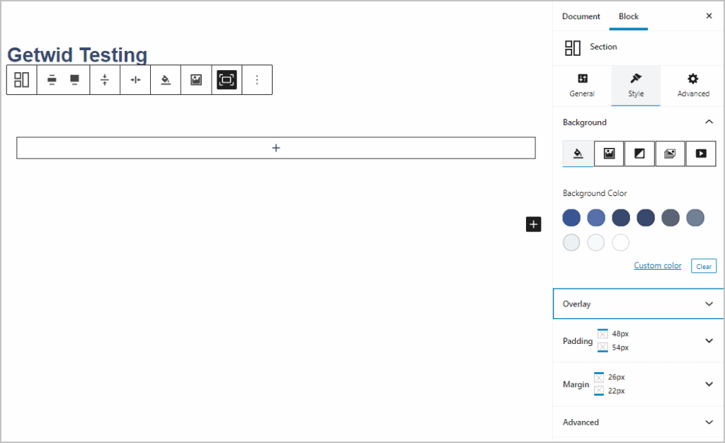 Section Style Tab