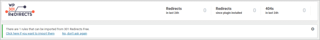 301 Redirect Import From Free Version