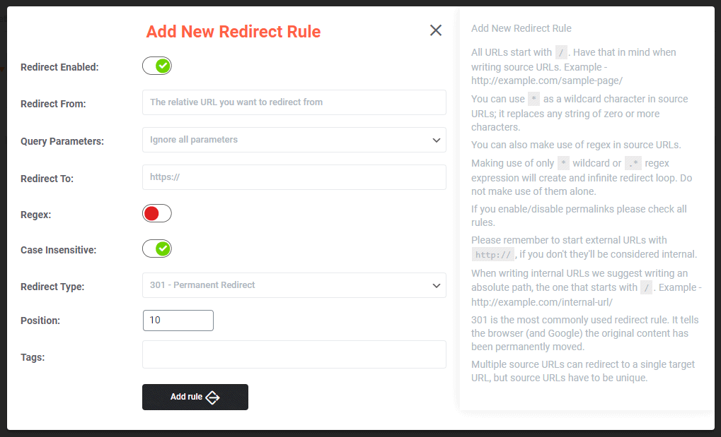 301 Redirects Add New Rule