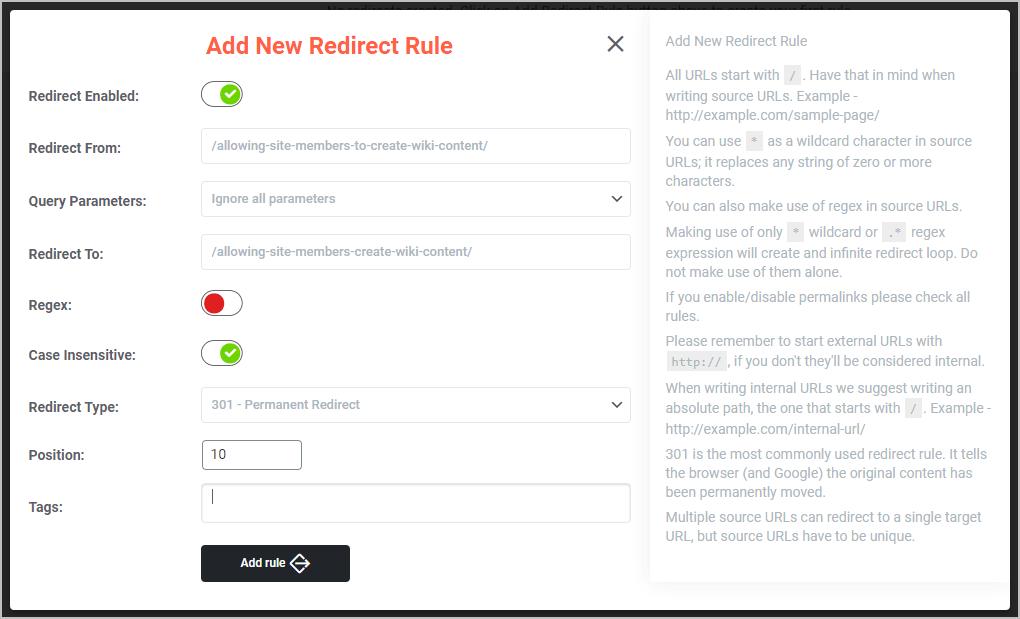 A Redirect Rule I Added