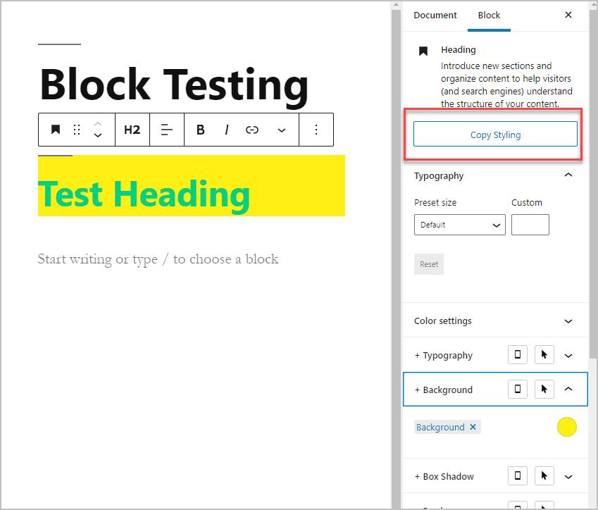 Copy Styling