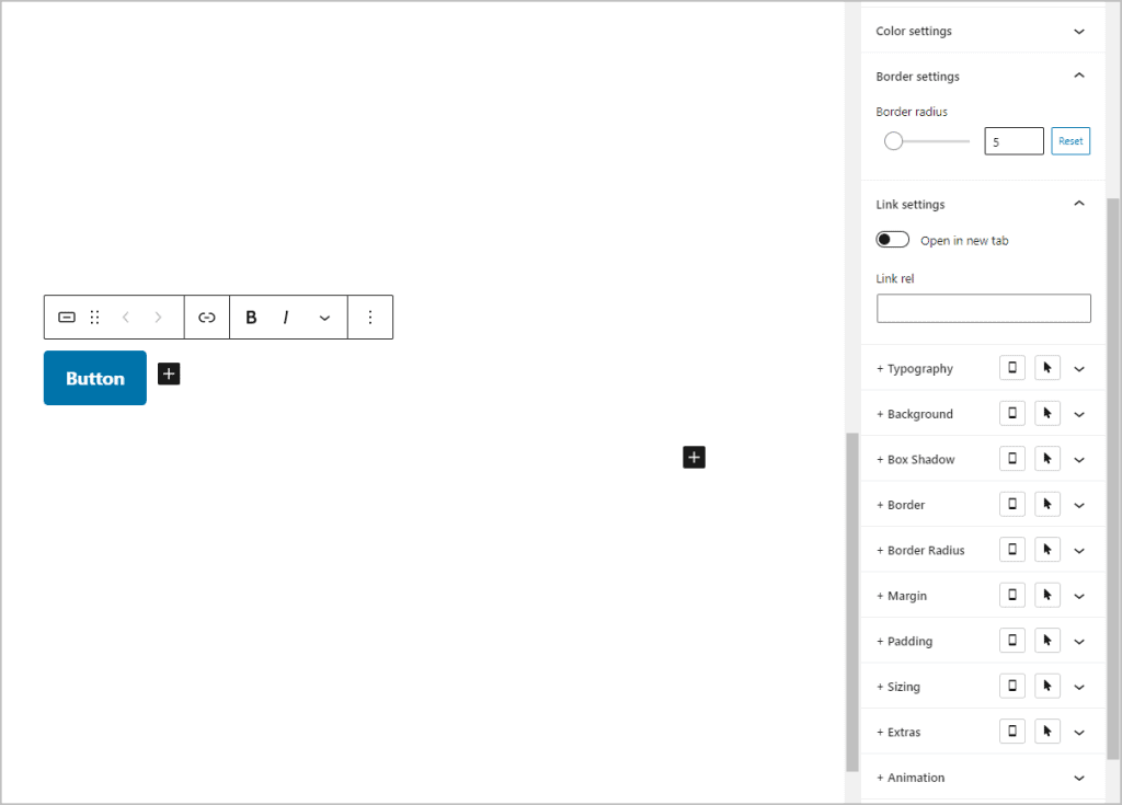 Editorplus Button Block Settings