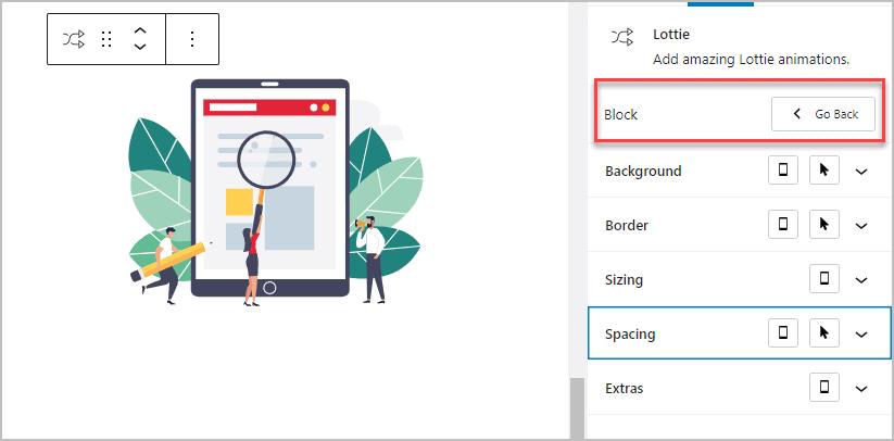 Lottie Block Design Options