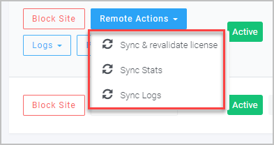 Online Dashboard Site Remote Actions
