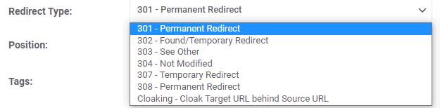 Redirect Type Options