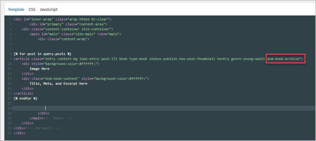 Archive Template With Placeholders
