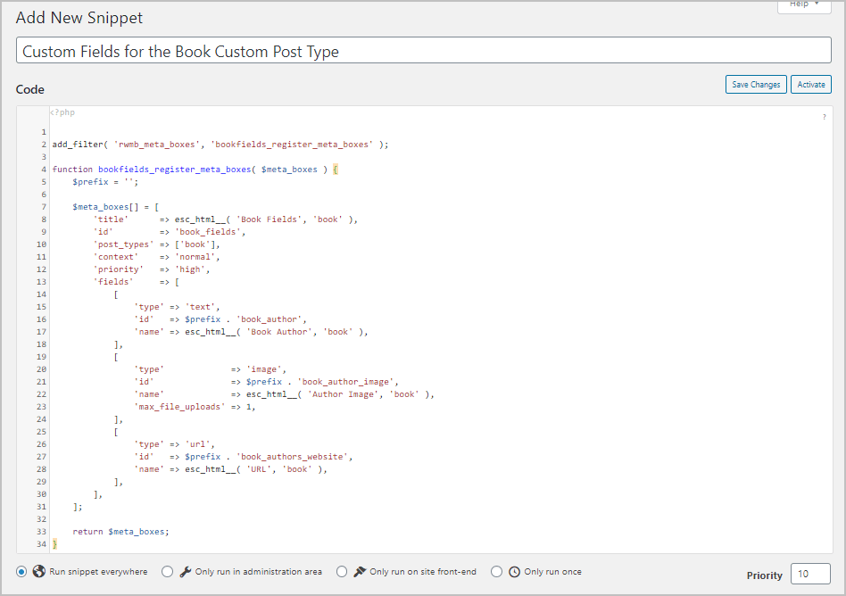Code Snippet Edited