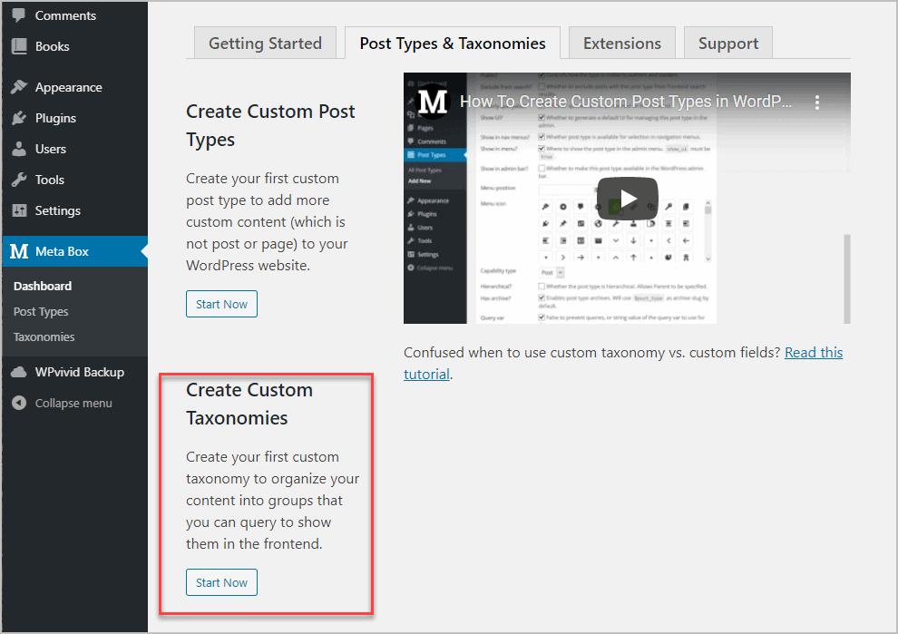 Creating The Custom Taxonomy