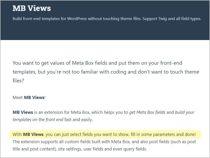 Mbv Meta Box Views Product Description