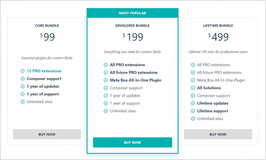 Meta Box Pricing Bundles