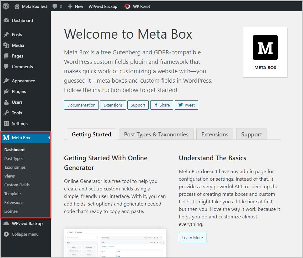 Metabox Aio Dashboard