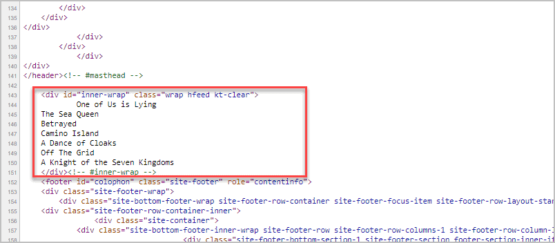Page Source Output