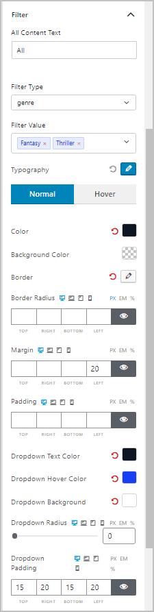 Post List 3 Settings Tab Filter Panel
