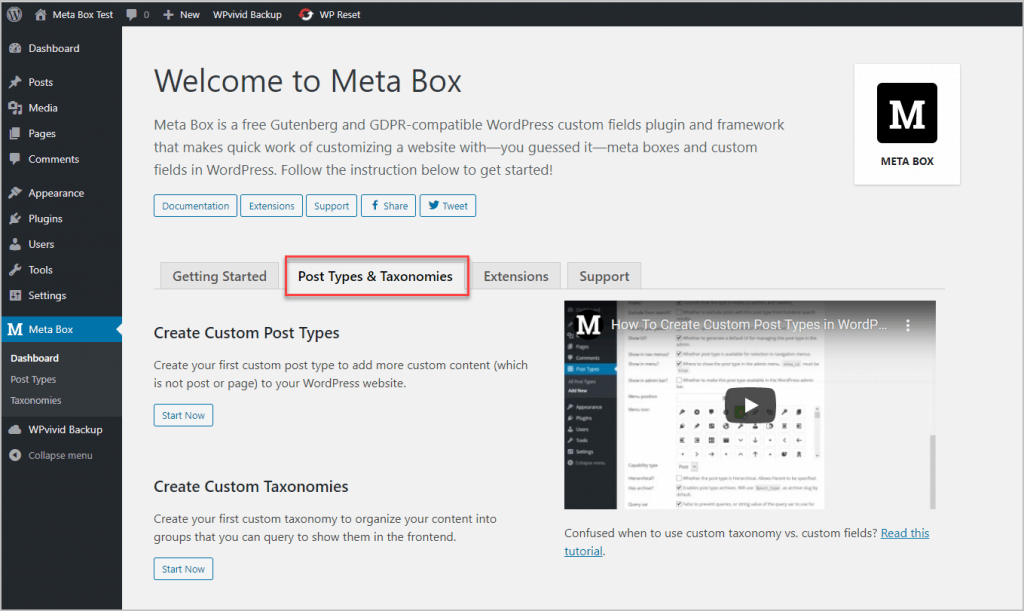 Tab Added For Custom Post Types And Custom Extensions