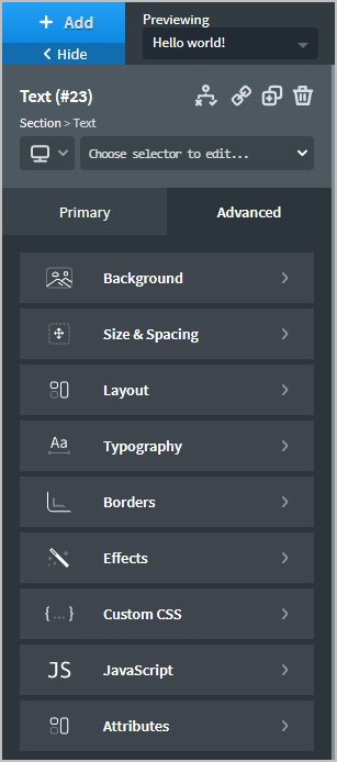 Elements Have A Large Set Of Advanced Settings