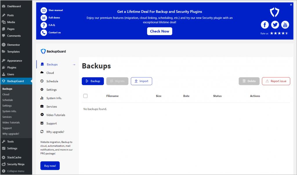backupguard backups menu