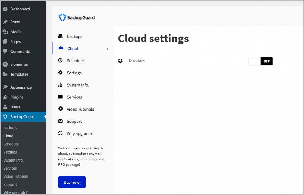 cloud settings menu