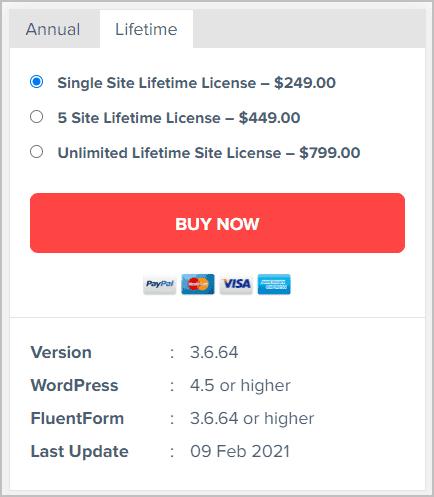fluent forms lifetime pricing