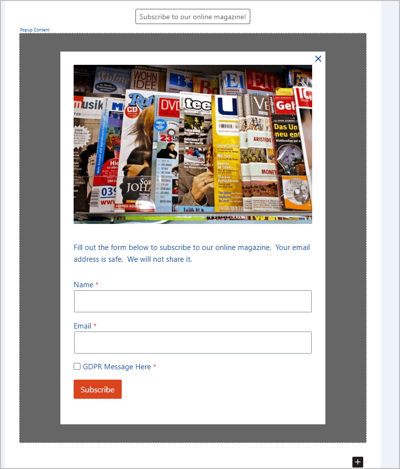 form tweaked for magazine signup