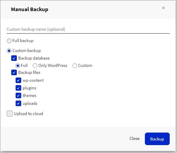 manual backup options