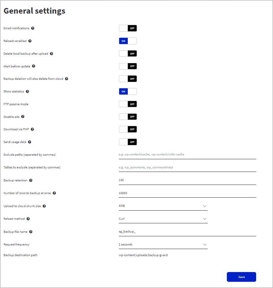 pro general settings