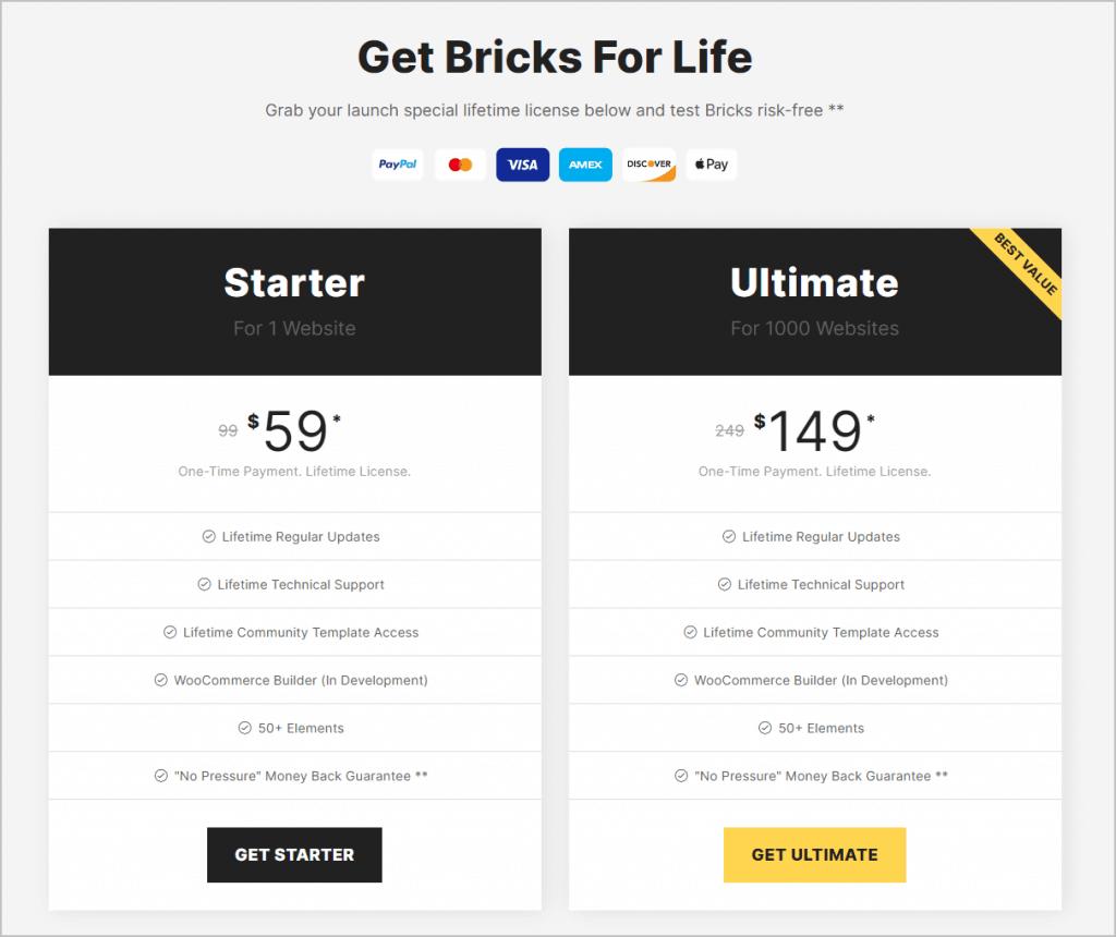 bricks pricing