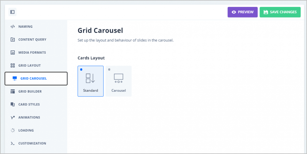 grid carousel tab