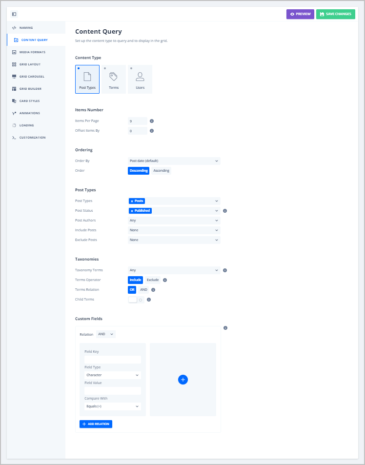 grid content query tab