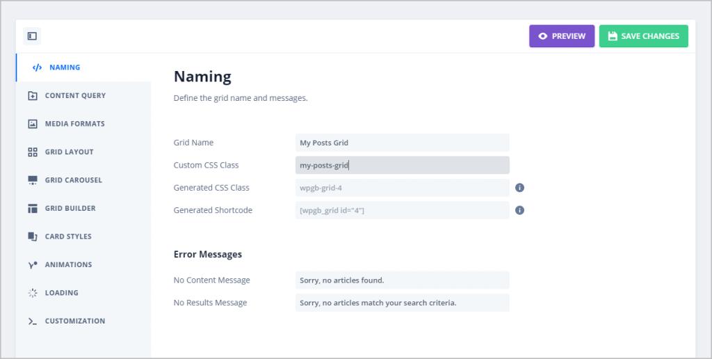 grid naming tab