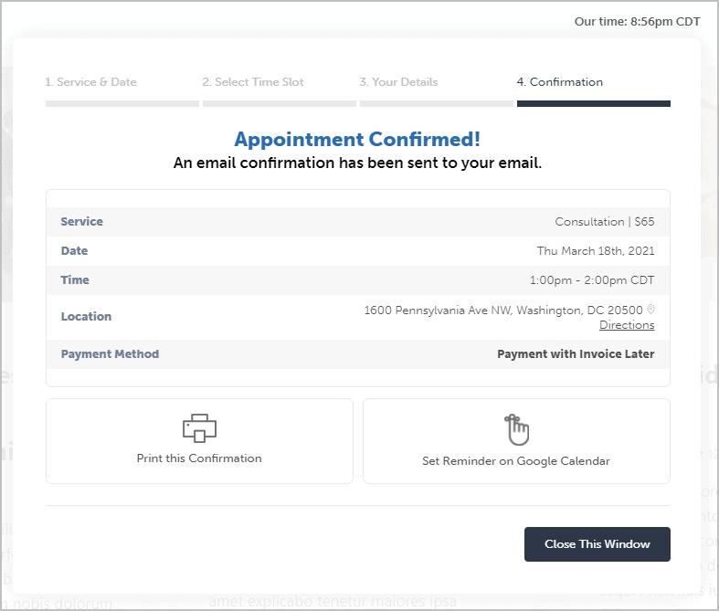 online form confirmation