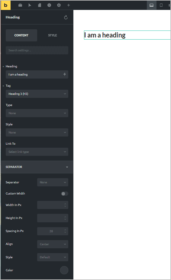 properties panel content tab
