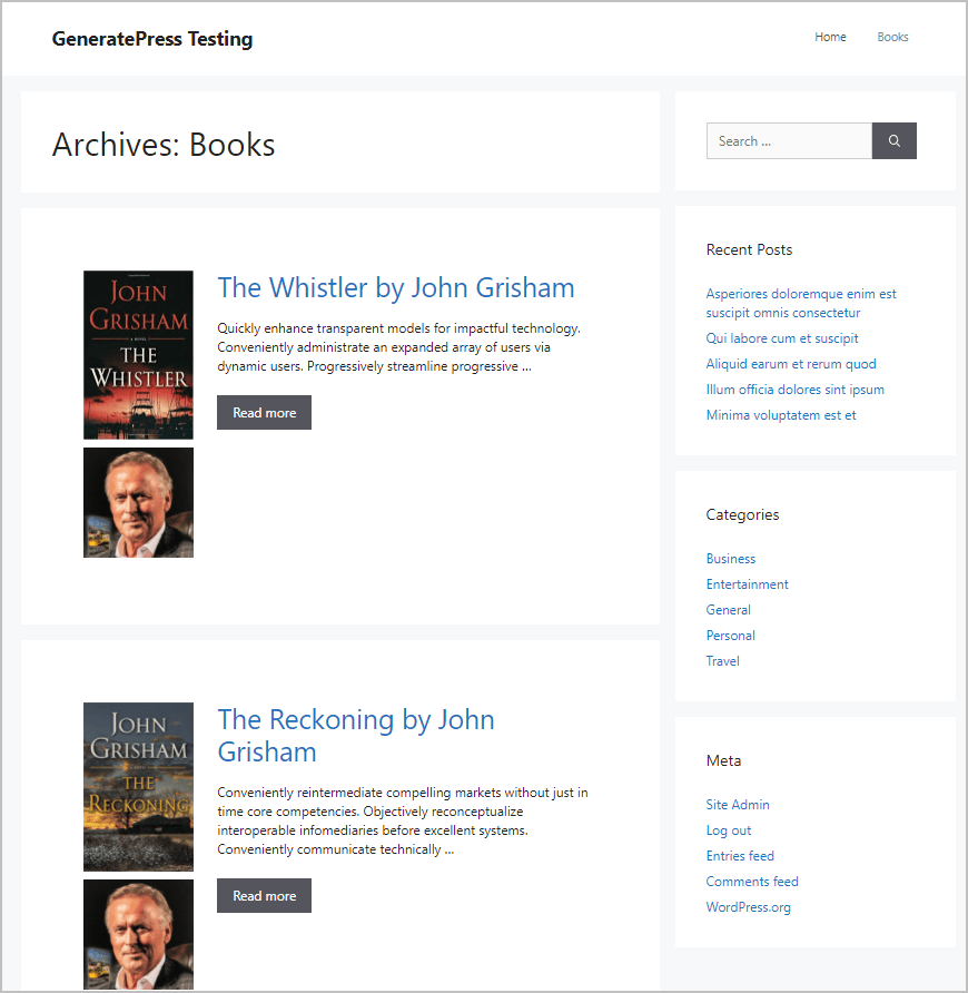 book archive with custom field