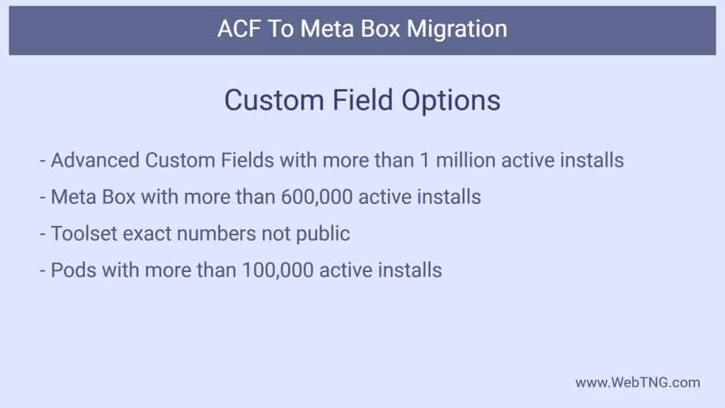 custom field options