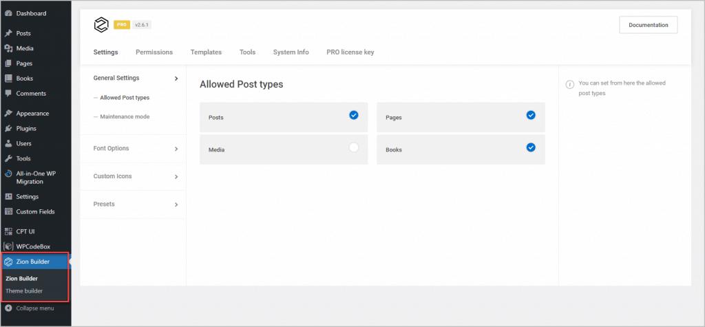 zion builder admin menus