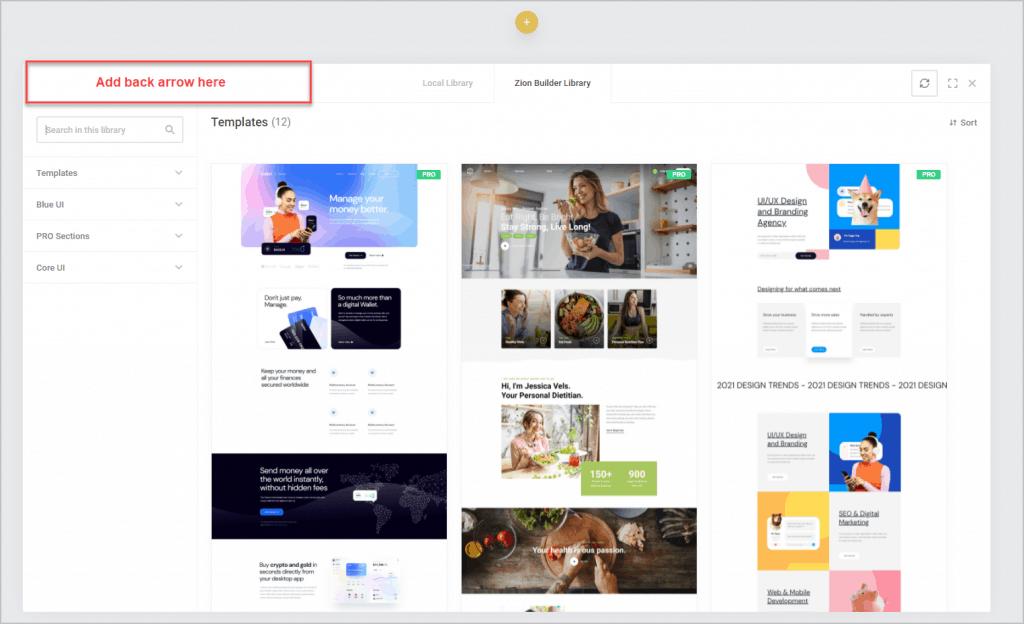templates screen