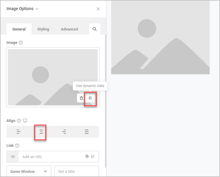 image general options