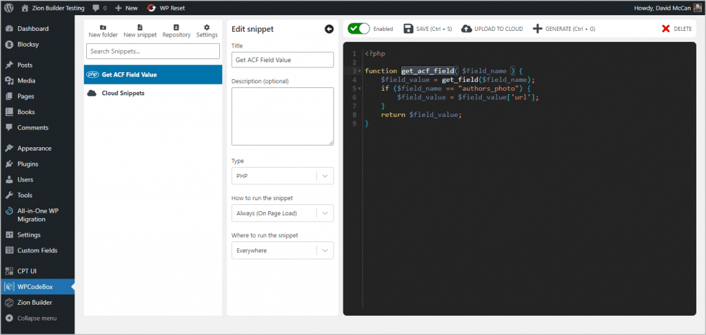 PHP function added to WPCodeBox.