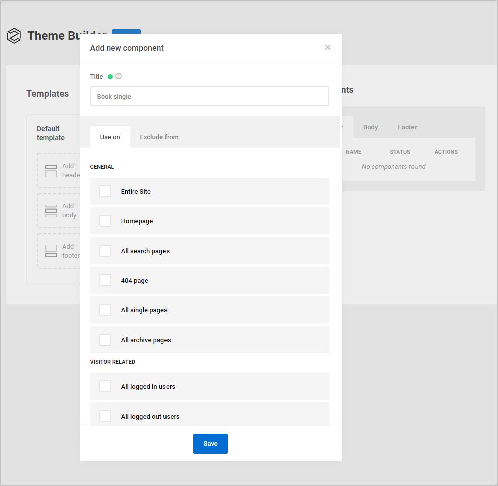Adding a template screen
