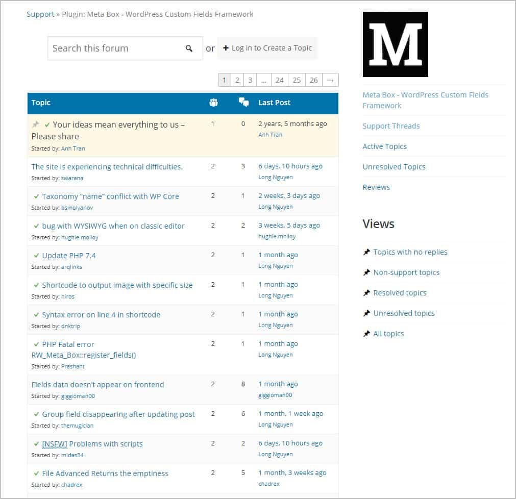metabox support forum