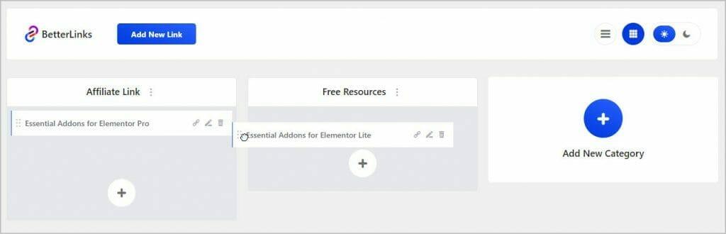 betterlinks assign categories via drag drop