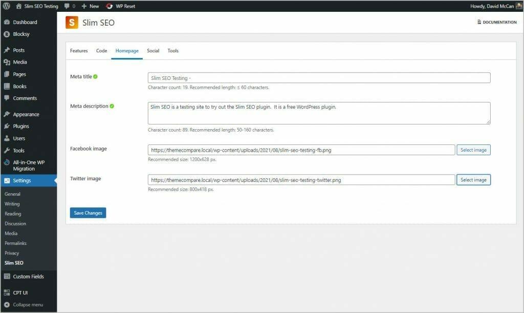 slim seo settings home page