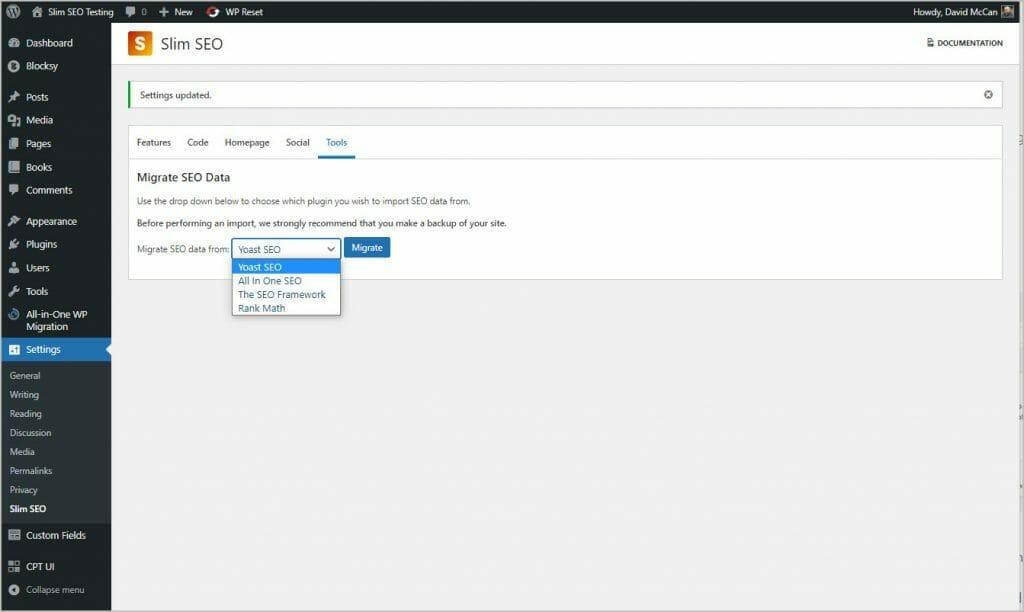 slim seo settings tools