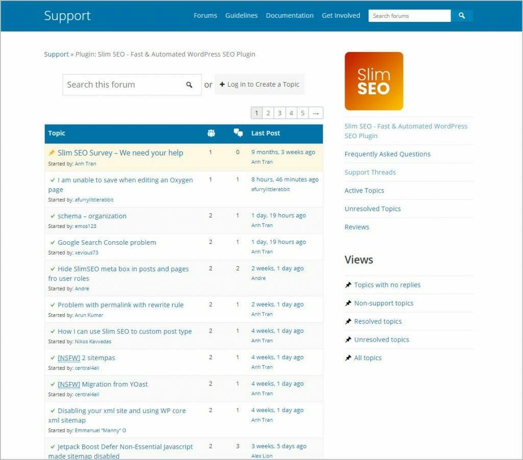 slim seo support on wordpress org