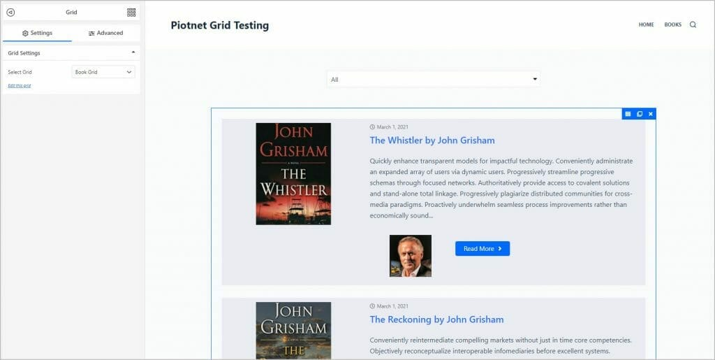 book grid added to book archive