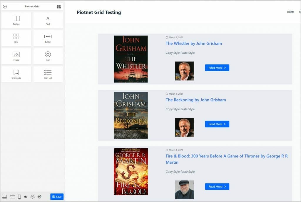 book grid with authors photo